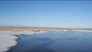 Dünen Schnee und Meer